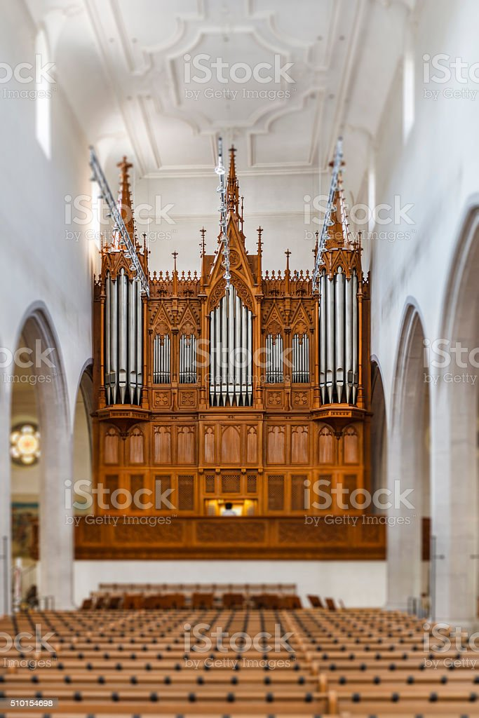 Pipe Organ, St. Johann Kirche - Schaffhausen, Switzerland stock photo