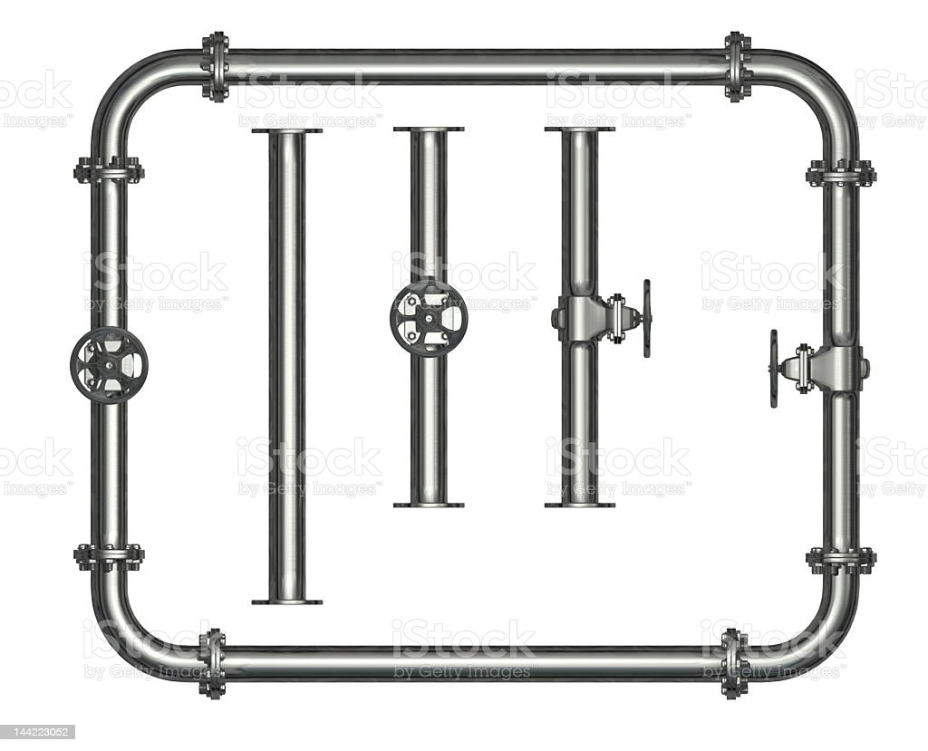 Pipe rectangle around three separate pipe pieces stock photo