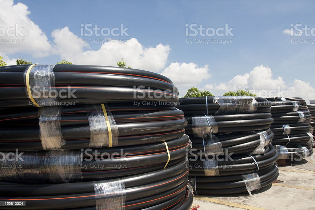 HDPE pipe rolls royalty-free stock photo