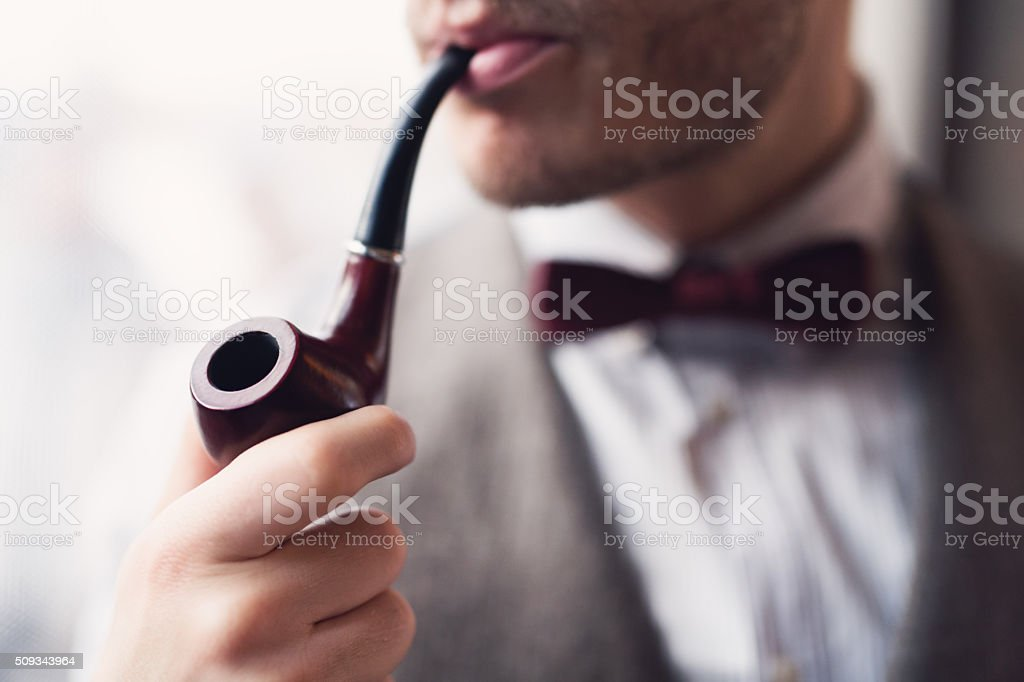 Pipe Smoking stock photo