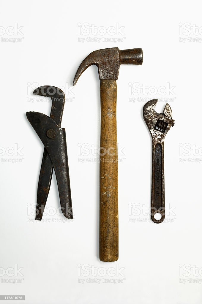 Pipe wrench, Hammer, spanner royalty-free stock photo