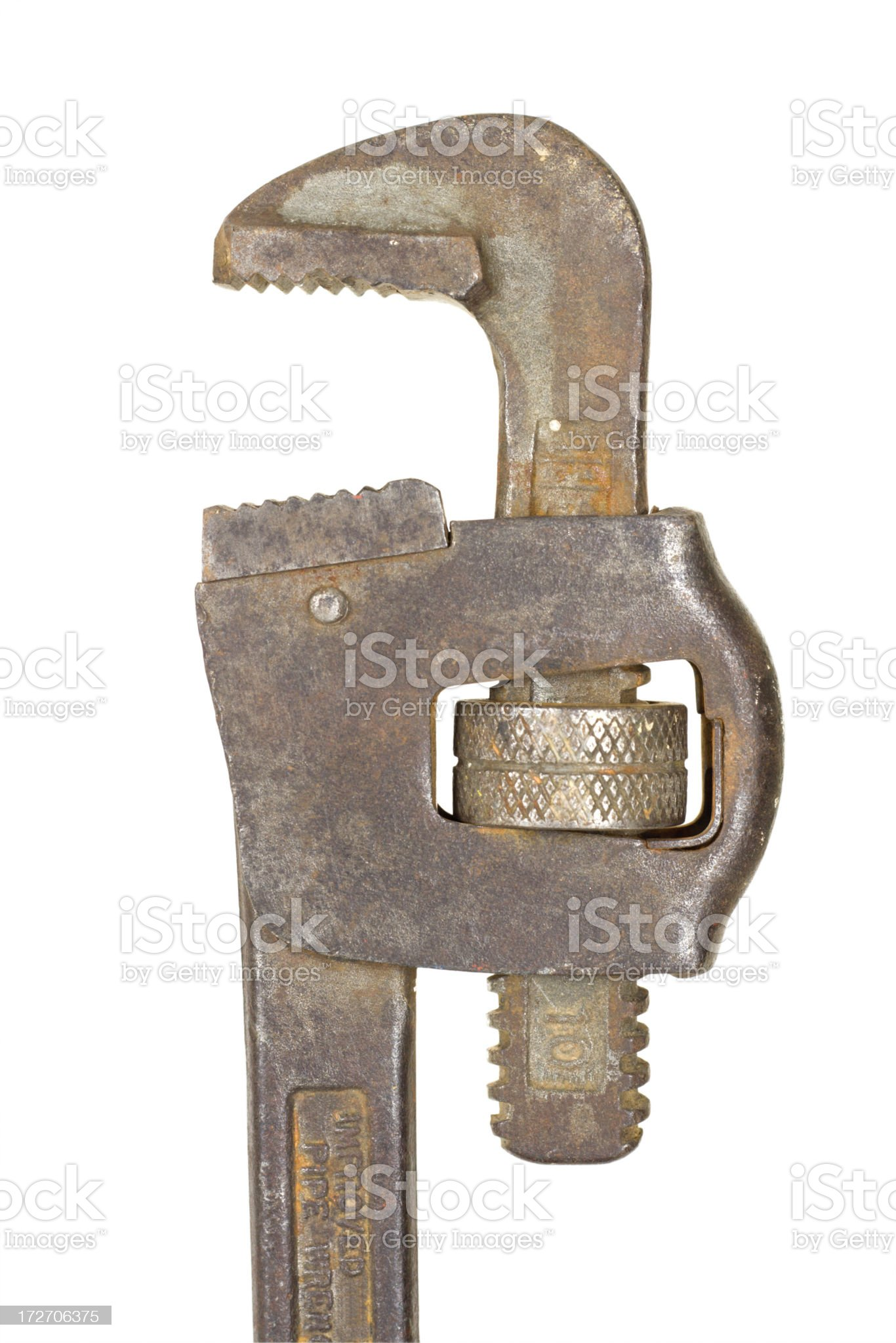 Pipe Wrench With Clipping Path Close Up royalty-free stock photo