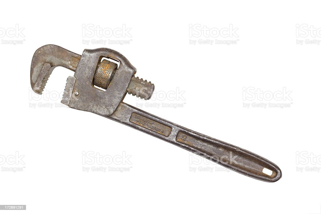 Pipe Wrench with Clipping Path royalty-free stock photo