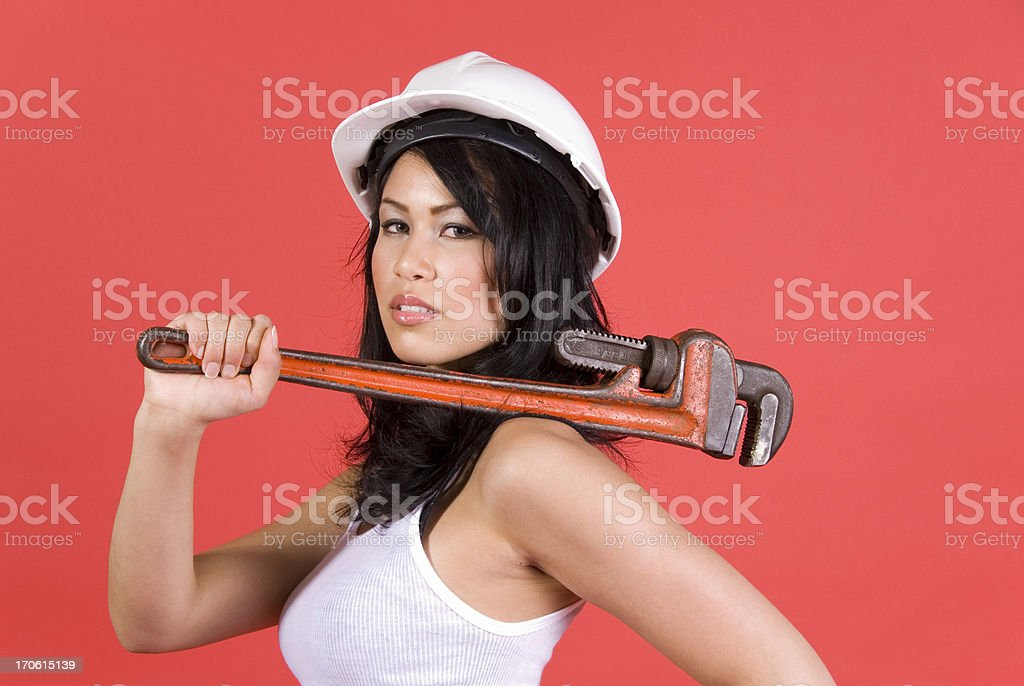 Pipe Wrench Woman royalty-free stock photo