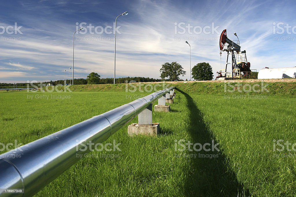 Pipeline and oil pump royalty-free stock photo
