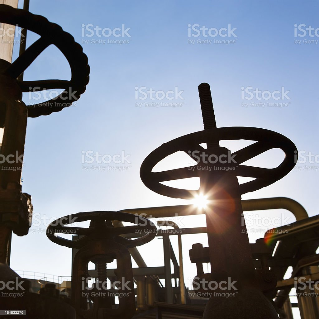 Pipeline and valve stock photo