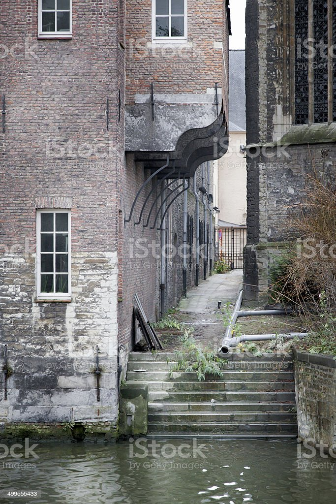 Pipeline at the waterfront, River Lys, Ghent, Belgium stock photo