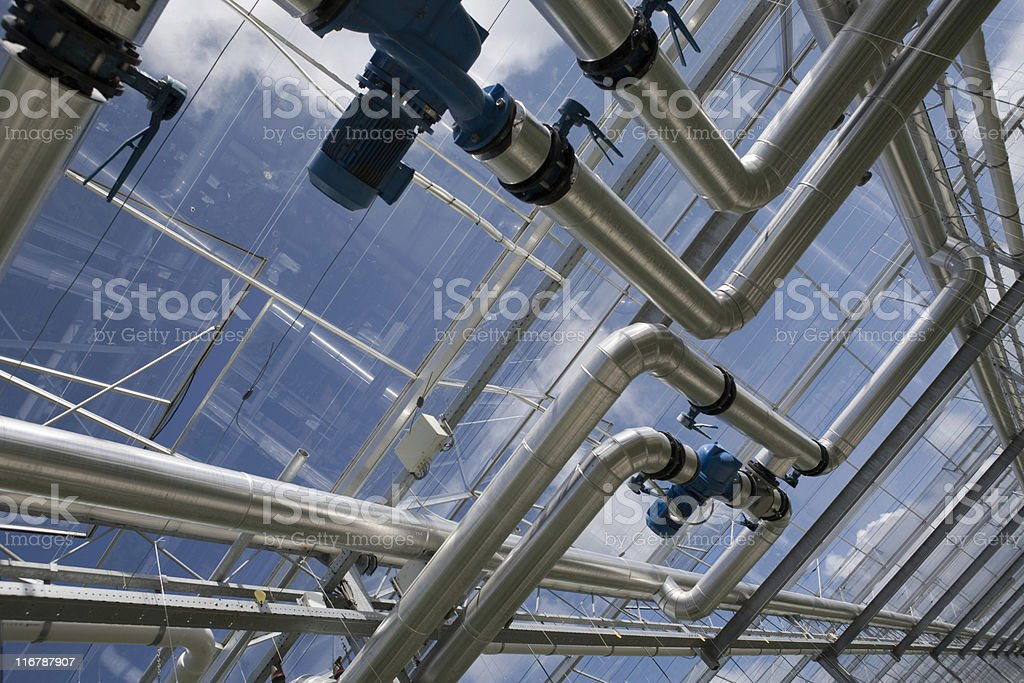 pipeline construction at an agricultural greenhouse royalty-free stock photo