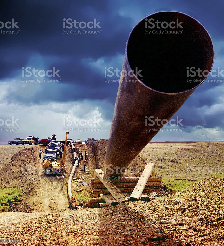 Pipeline facing Impending Storm Clouds stock photo