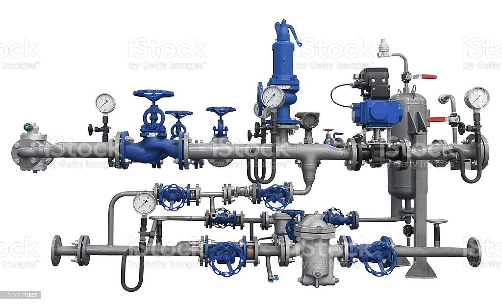 Pipeline fragment with devices stock photo