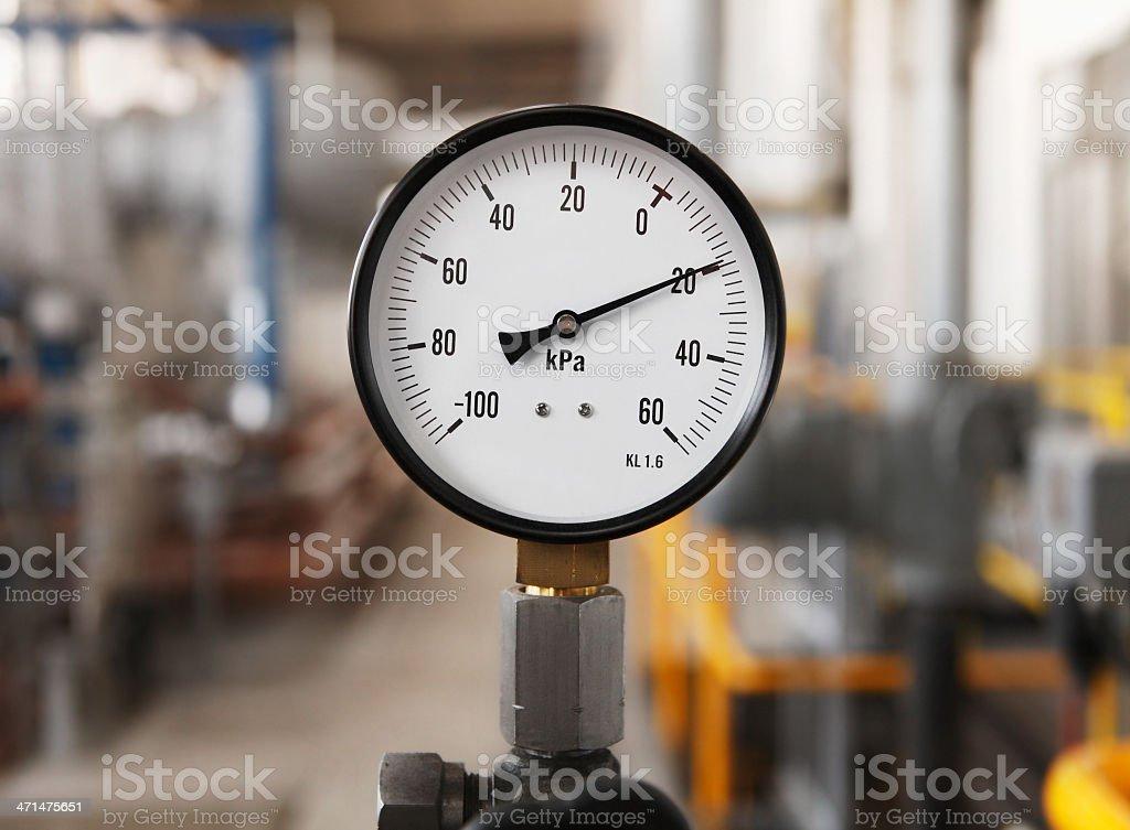 Pipeline gauge in heating plant stock photo