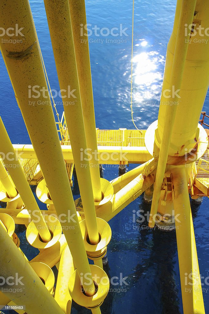 Pipeline in offshore platform royalty-free stock photo