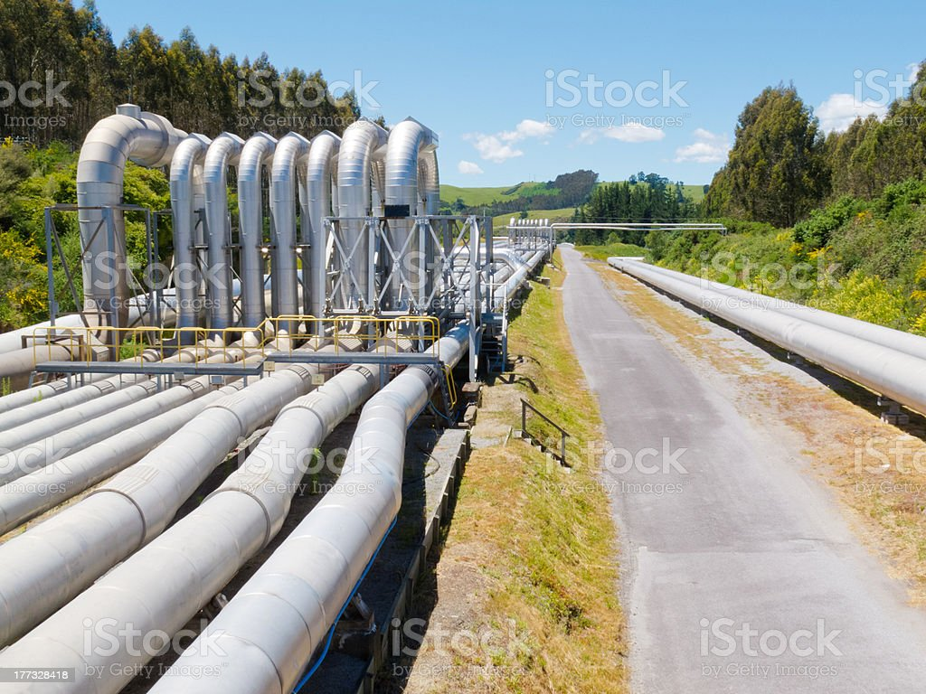 Pipeline installation for distribution and supply stock photo