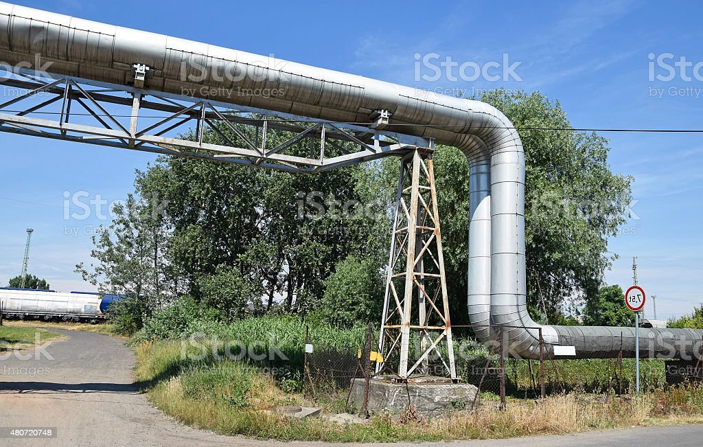 Pipeline of the power station stock photo