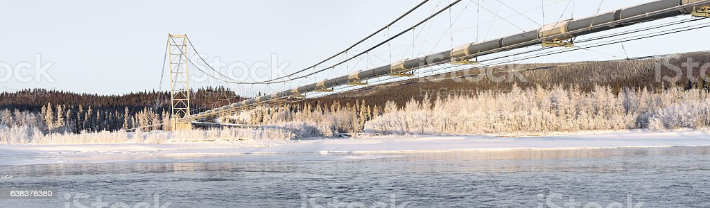 Pipeline Panorama Over Frozen River in Winter stock photo