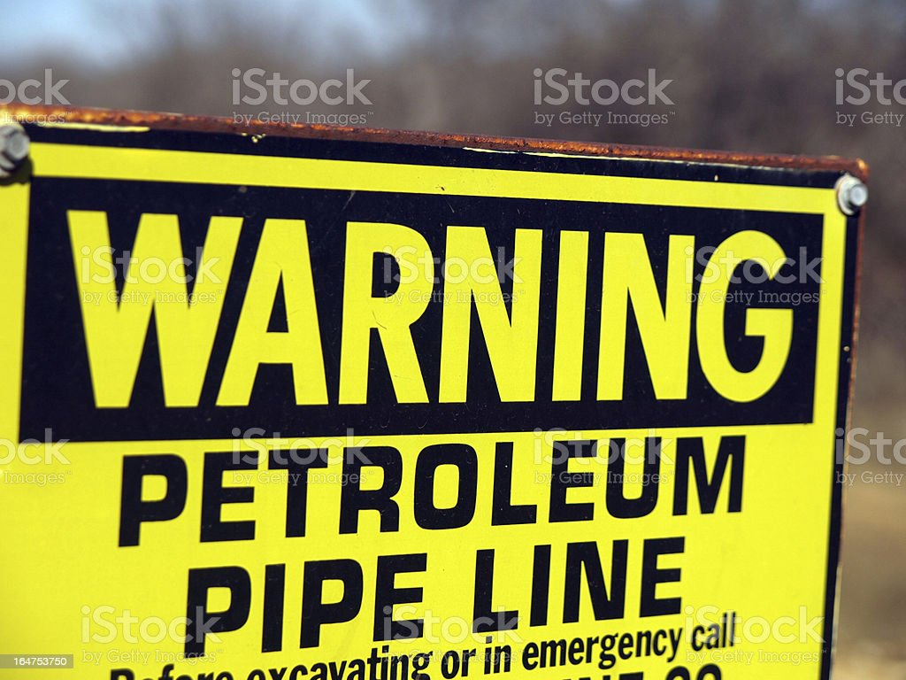 Pipeline warning sign royalty-free stock photo