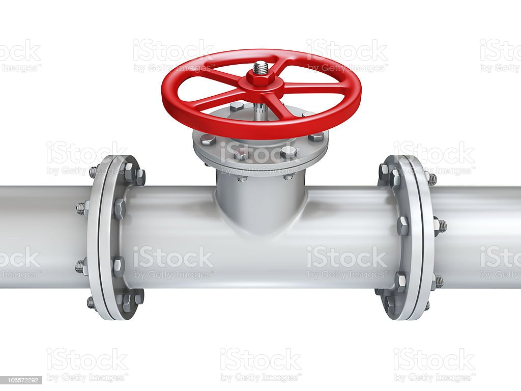 Pipeline with a red valve on top royalty-free stock photo