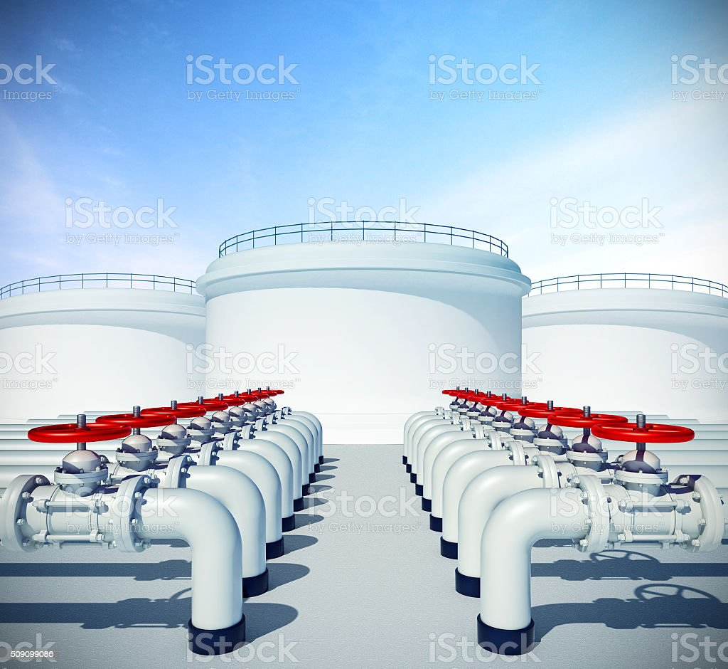 Pipeline with red valve. Fuel or oil industrial storages stock photo