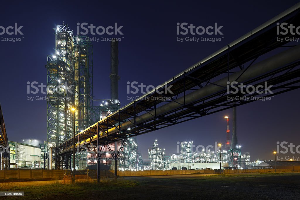 Pipelines And Refinery At Night royalty-free stock photo