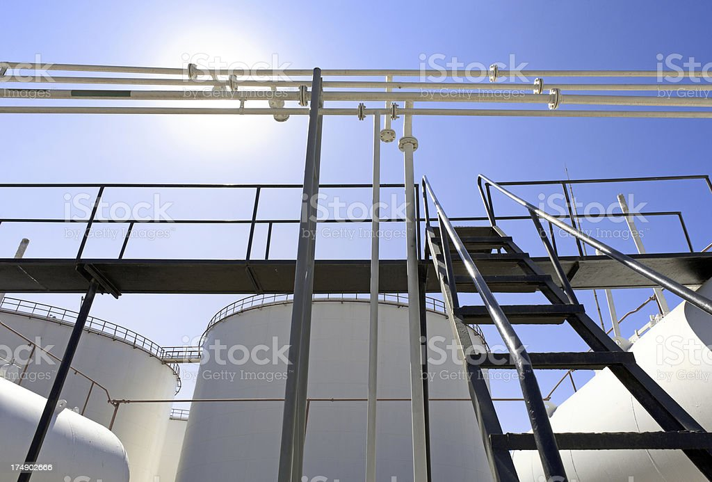 Pipelines and tanks on Refinery area royalty-free stock photo