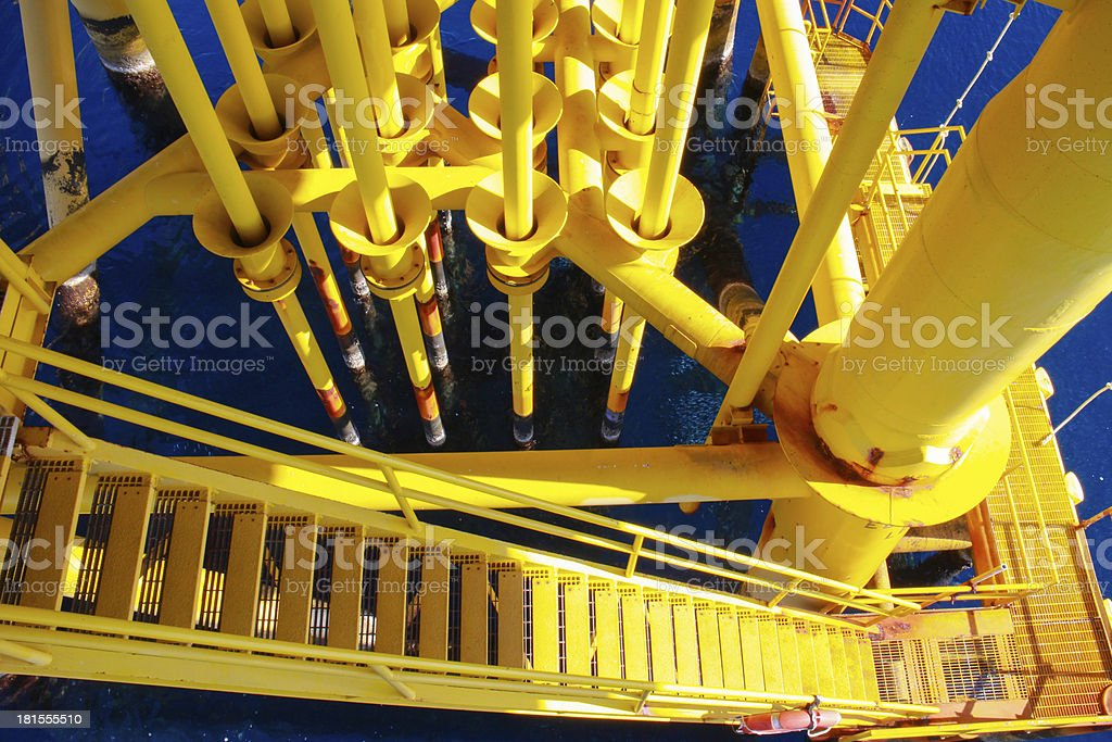 Pipelines in oil and gas platform royalty-free stock photo