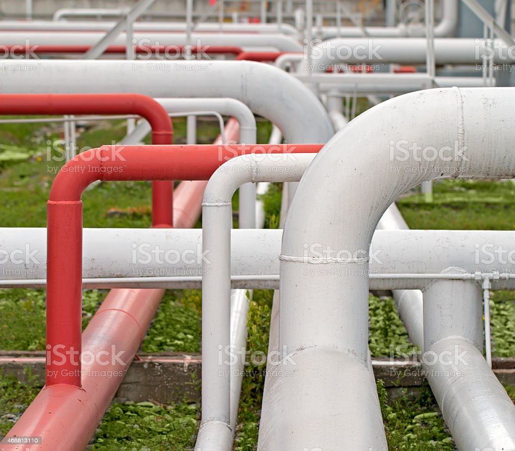 Pipelines in Petrolium Refinery stock photo