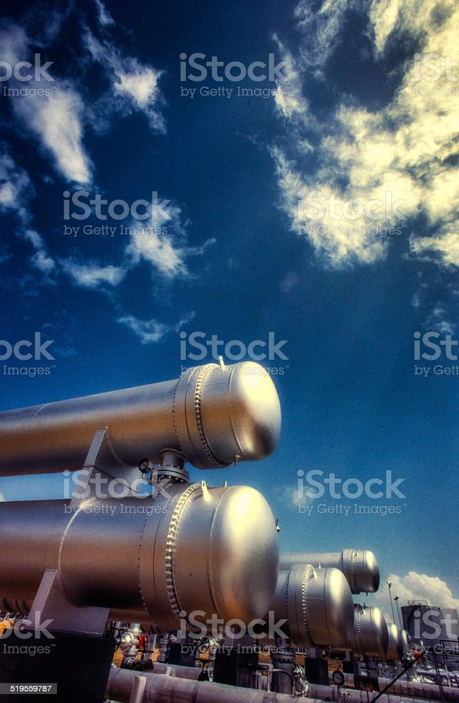 Pipelines in refinery stock photo