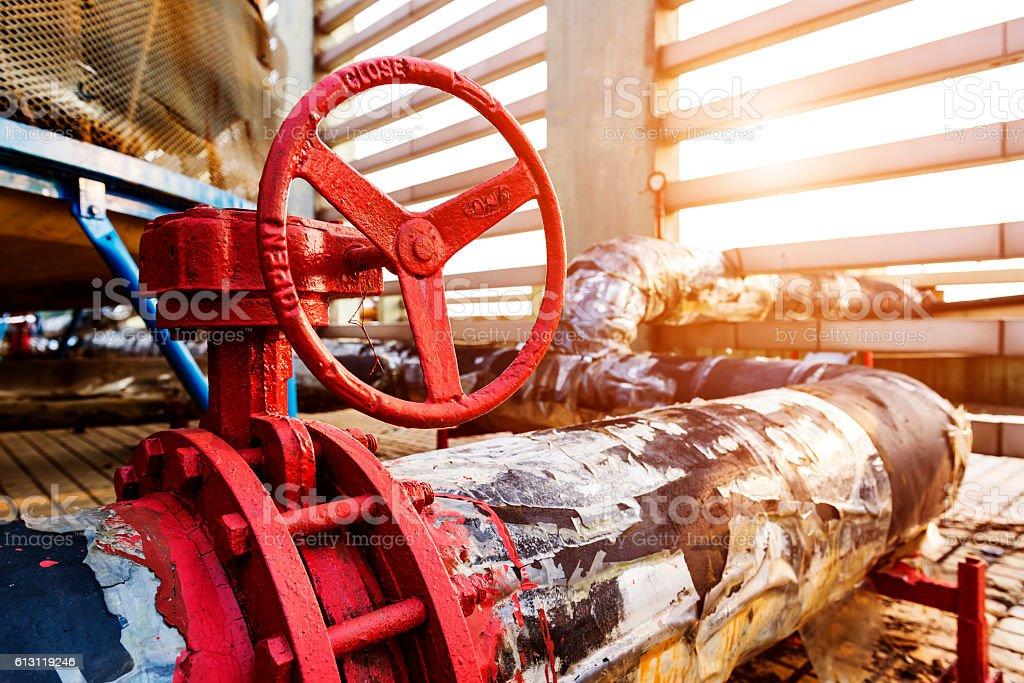 Pipelines, water pump, valves, manometers. stock photo