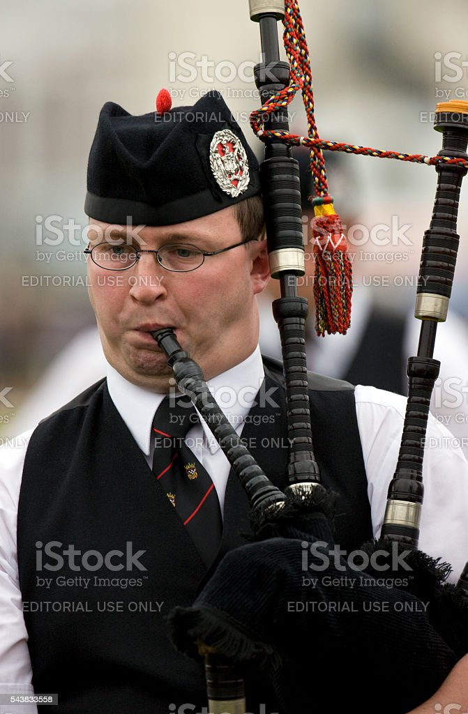 Piper at the Cowal Gathering in Dunoon in Scotland stock photo