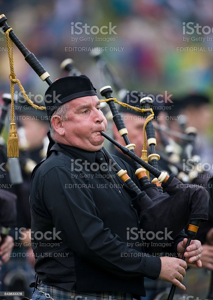 Pipers at the Cowal Gathering in Dunoon in Scotland stock photo