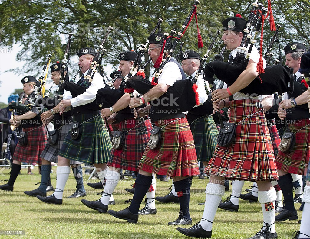 Pipers in a Marching Band at Aberdeen Highland Games, Scotland stock photo