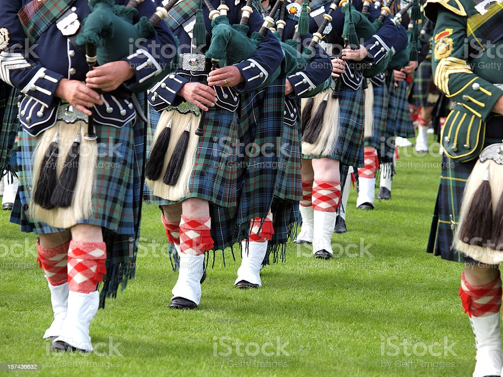 Pipers in a Marching Band, Scotland stock photo