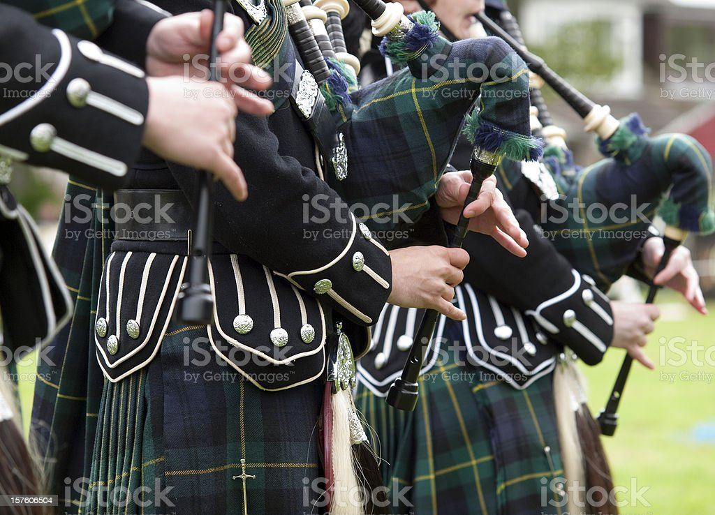 Pipers playing in a Marching Band, Scotland stock photo