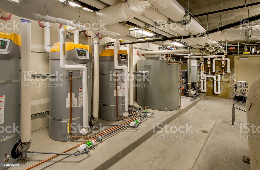Pipes and Controls for HVAC System stock photo
