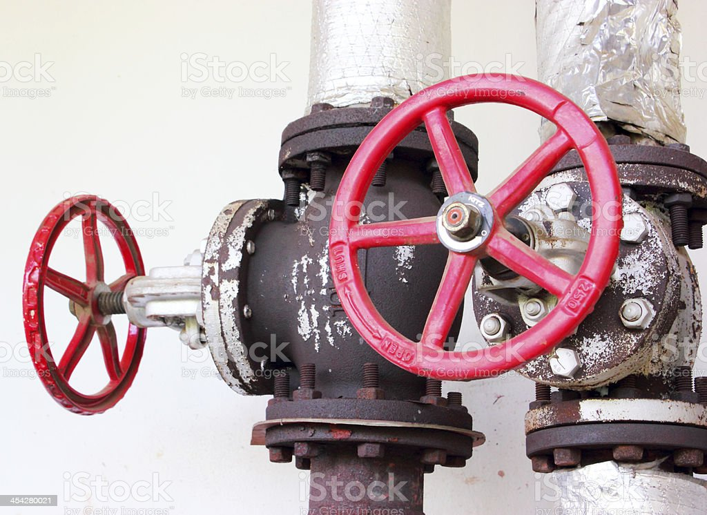 pipes and faucet valves of heating system royalty-free stock photo