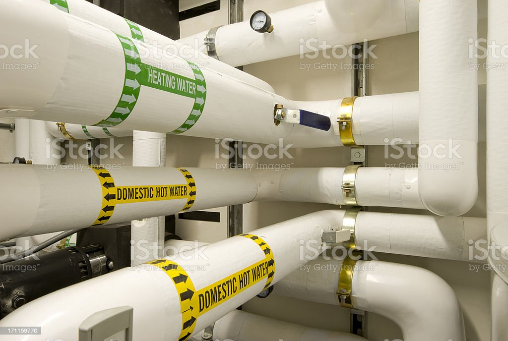 Pipes and Pumps for Hot Water Boiler. royalty-free stock photo