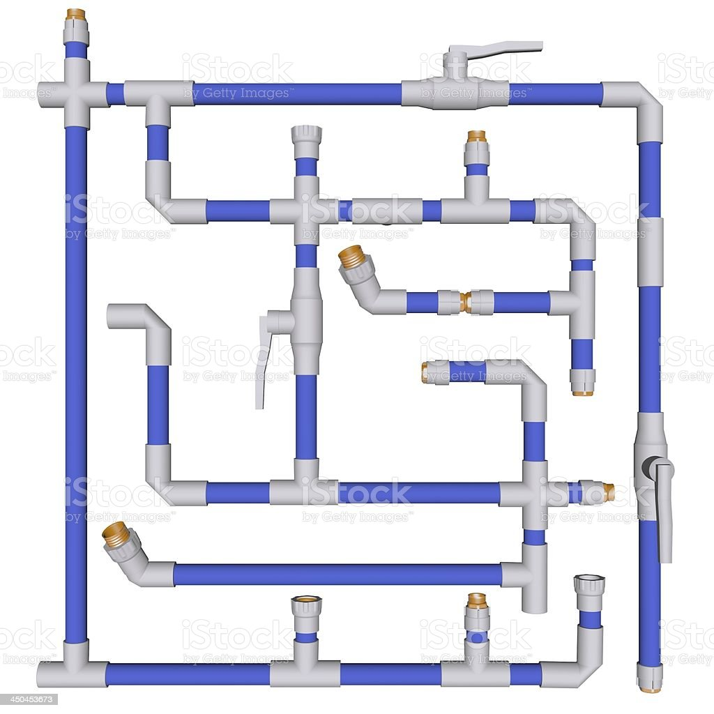 Pipes connected Fittings pvc system sewerage on white bakground 3d royalty-free stock photo