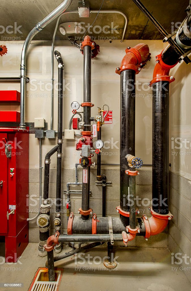 Pipes for Fire Sprinkler Control System stock photo