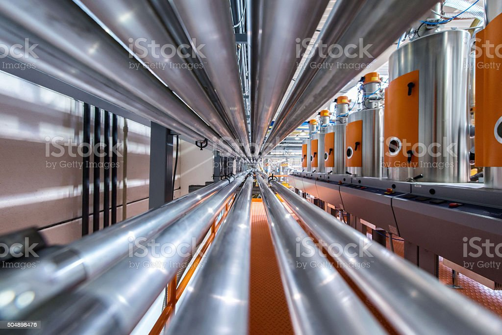 Pipes in factory stock photo