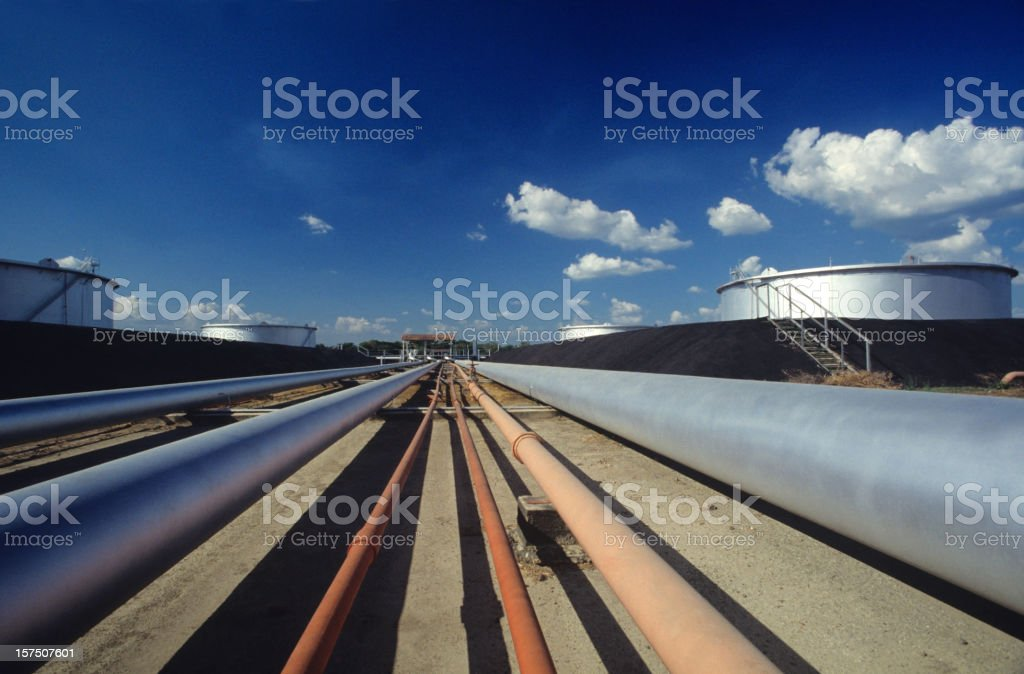pipes in pump station of refinery stock photo