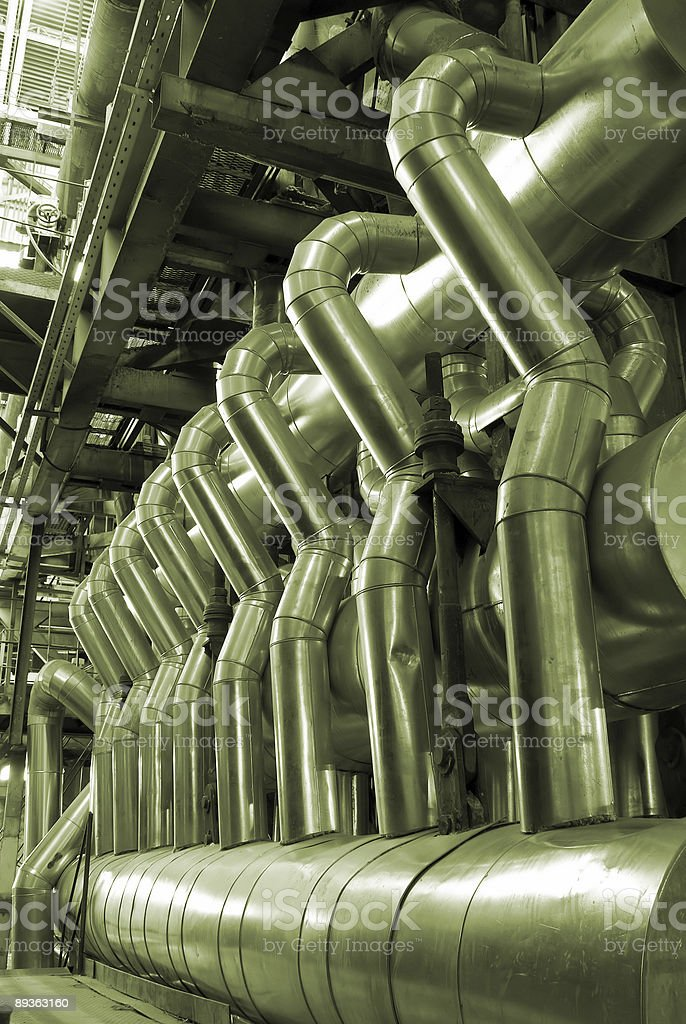 pipes inside a power plant royalty-free stock photo