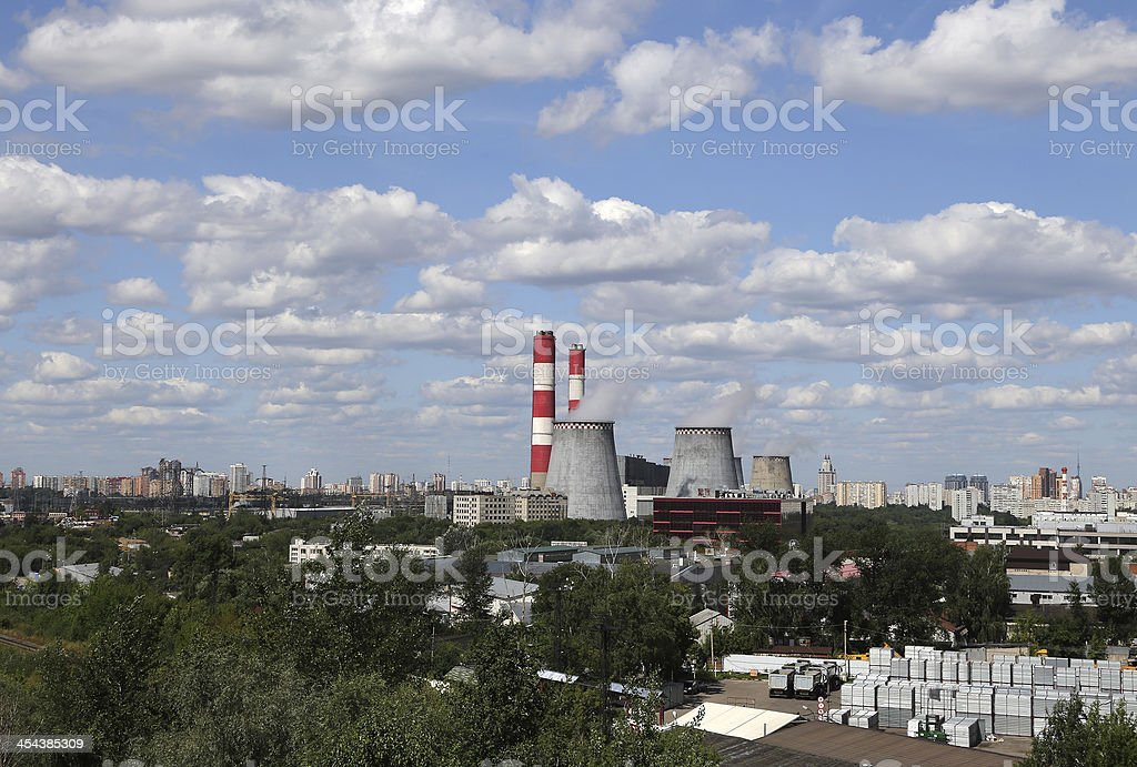 Pipes of coal  burning power station. Moscow, Russia royalty-free stock photo