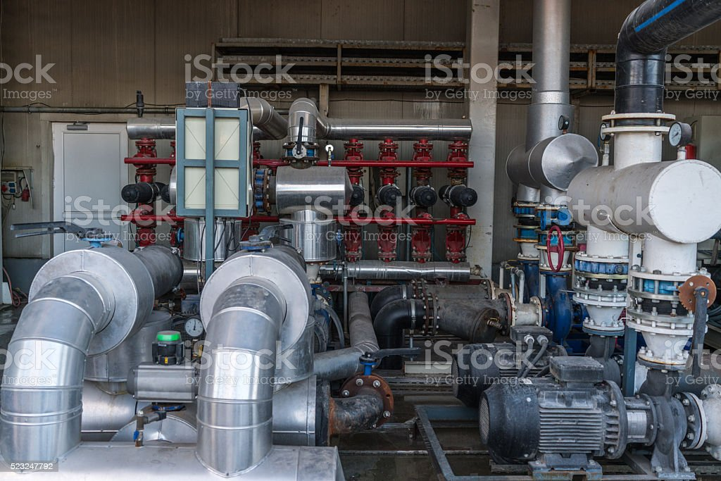 Pipes of sewage treatment plant stock photo