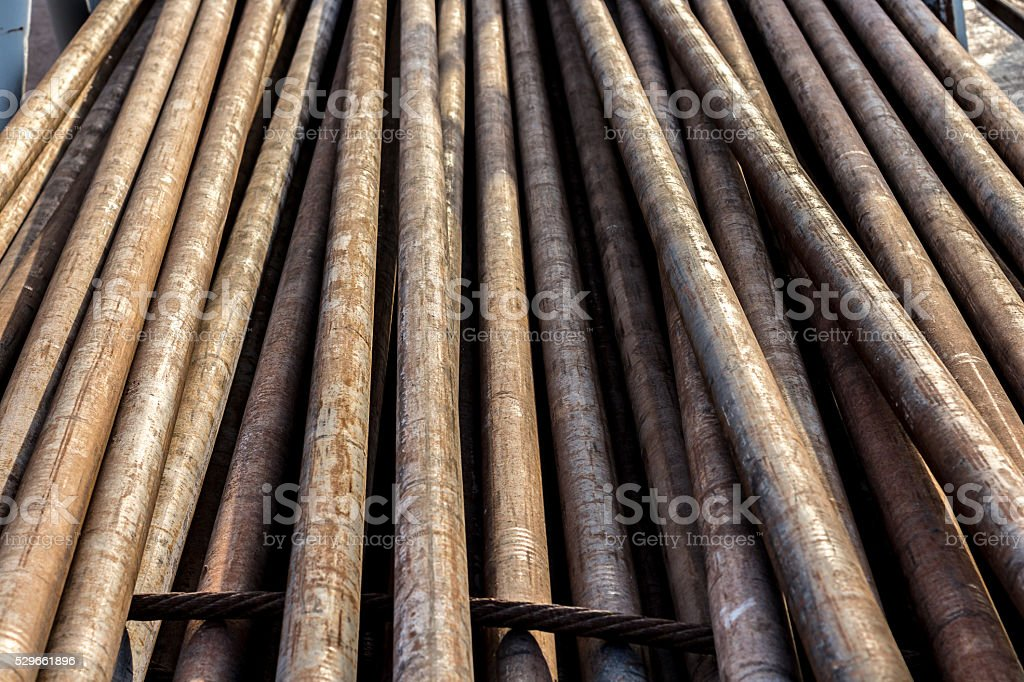 pipes on oil rig stock photo