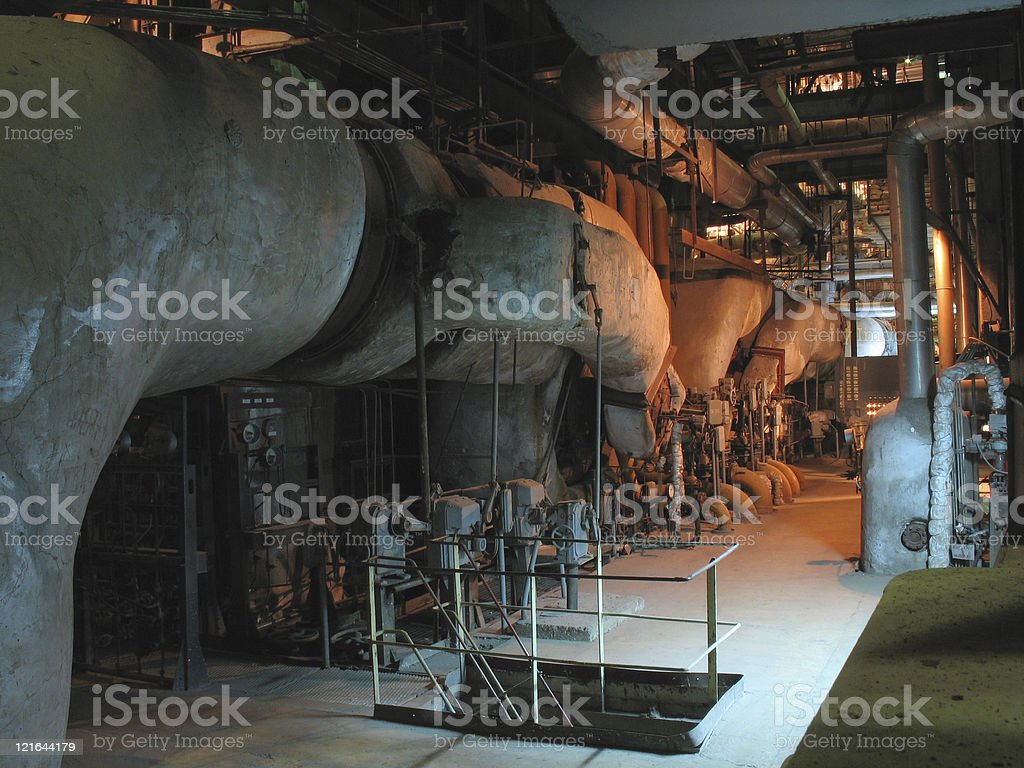 Pipes, tubes, machinery and steam turbine royalty-free stock photo