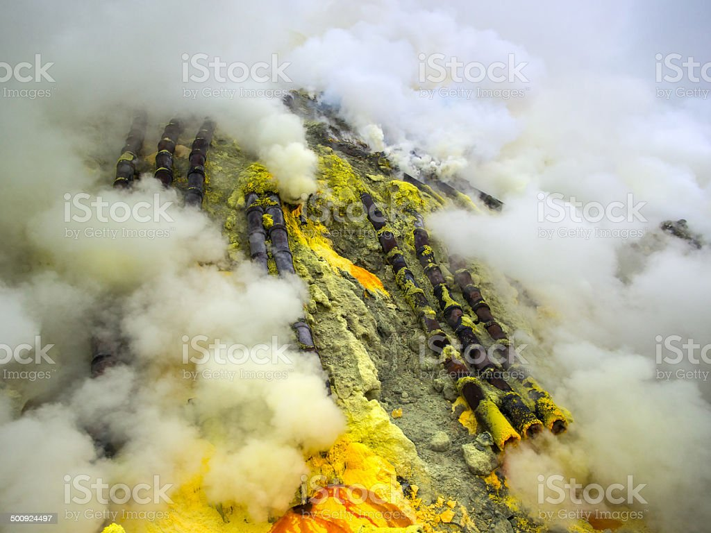 Pipes Used for Sulfur Mining at Kawah Ijen Volcano, Indonesia royalty-free stock photo