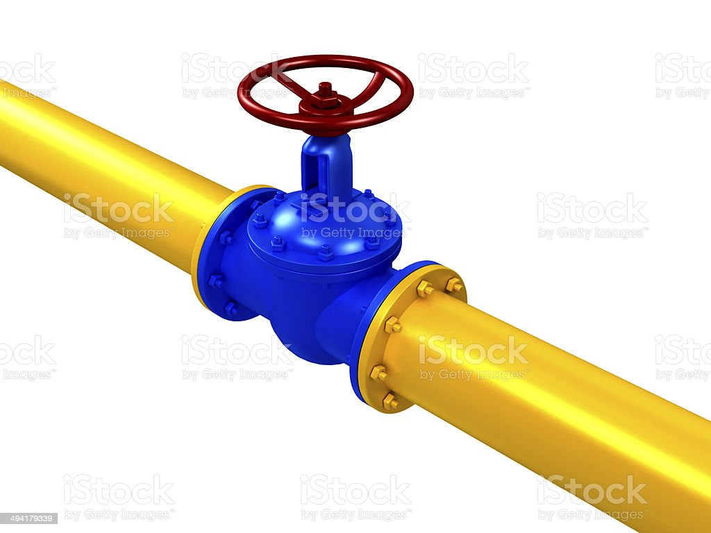 pipes valve connection - isolated stock photo