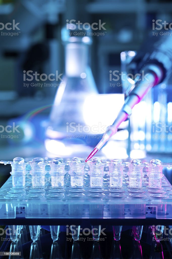 Pipette and PCR tubes stock photo