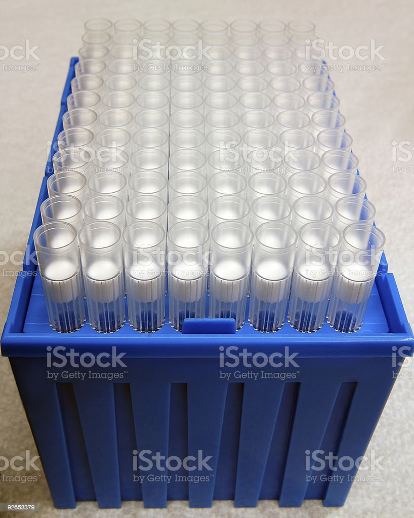 Pipette Tips in a Blue Box royalty-free stock photo
