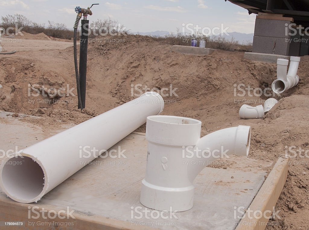 PVC Piping and Connectors at Construction Site royalty-free stock photo